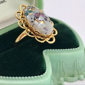 Vintage Style Oval Speckled Cabochon Ring
